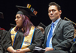 Alejandra Leon,left, 2013-14 President Associated Students of Western Nevada College and Angelo DePerez 2014-15 President Associated Students of Western Nevada College at the WNC commencement in Fallon, Nev., on Tuesday, May 20, 2014. <br /> Photo by Kim Lamb