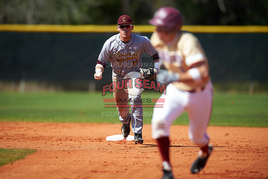 Central Michigan Chippewas second baseman Jason Sullivan (10) forces the base runner back to first base during a game against the Boston College Eagles on March 3, 2017 at North Charlotte Regional Park in Port Charlotte, Florida.  Boston College defeated Central Michigan 5-4.  (Mike Janes/Four Seam Images)