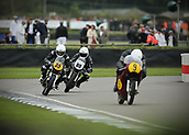 10th September 2017, Goodwood Estate, Chichester, England; Goodwood Revival Race Meeting; A pair of Norton Manx 500's chase down a Matchless G50 as they exit the Goodwood chicane