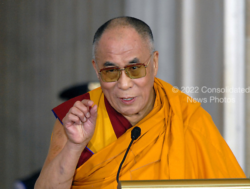 Washington, DC - October 17, 2007 -- The 14th Dalai Lama, Tenzin Gyatso, makes remarks during at The Capitol where he accepted the Congressional Gold Medal, the nation's highest and most distinguished civilian award in Washington, D.C. on Wednesday, October 17, 2007..Credit: Ron Sachs/CNP