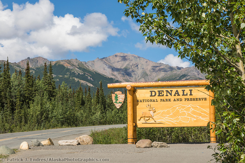 Park service entrance sign to Denali National Park, Alaska.