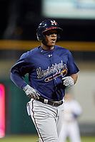 Mississippi Braves left fielder Adam Brett Walker (28) during a game against the Montgomery Biscuits on April 24, 2017 at Montgomery Riverwalk Stadium in Montgomery, Alabama.  Montgomery defeated Mississippi 3-2.  (Mike Janes/Four Seam Images)
