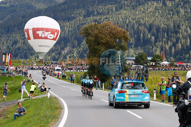 Astana Pro Team in action during the Men's Elite Team Time Trial of the 2018 UCI Road World Championships running 62.8km from Ötztal to Innsbruck, Innsbruck-Tirol, Austria 2018. 23rd September 2018.<br /> Picture: Innsbruck-Tirol 2018/BettiniPhoto | Cyclefile<br /> <br /> <br /> All photos usage must carry mandatory copyright credit (© Cyclefile | Innsbruck-Tirol 2018/BettiniPhoto)