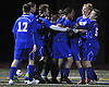 Calhoun teammates celebrate after a goal in the first half of the Nassau County Class AA varsity boys soccer semifinals against Hicksville at Cold Spring Harbor High School on Monday, Oct. 31, 2016. Calhoun won by a score of 2-1.