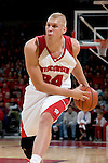 MADISON, WI - NOVEMBER 3: Forward Greg Stiemsma #34 of the Wisconsin Badgers handles the ball against the University of Wisconsin-Stout Blue Devils at the Kohl Center on September 3, 2006 in Madison, Wisconsin. The Badgers beat the Blue Devils 82-33. Photo by David Stluka