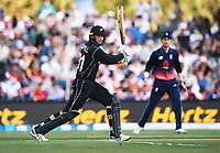 Martin Guptill batting.<br /> New Zealand Blackcaps v England. 5th ODI International one day cricket, Hagley Oval, Christchurch. New Zealand. Saturday 10 March 2018. &copy; Copyright Photo: Andrew Cornaga / www.Photosport.nz
