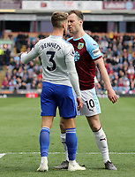Burnley's Ashley Barnes squares up to Cardiff City's Joe Bennett<br /> <br /> Photographer Rich Linley/CameraSport<br /> <br /> The Premier League - Saturday 13th April 2019 - Burnley v Cardiff City - Turf Moor - Burnley<br /> <br /> World Copyright © 2019 CameraSport. All rights reserved. 43 Linden Ave. Countesthorpe. Leicester. England. LE8 5PG - Tel: +44 (0) 116 277 4147 - admin@camerasport.com - www.camerasport.com