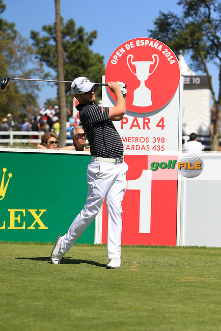Marc Warren (SCO) on the 1st during Thursday's Round 1 of The Open De Espana at The PGA Catalunya Resort. 15th May 2014.<br /> Picture:  Thos Caffrey / www.golffile.ie