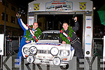 Mark Falvey Millsreet left and Diarmuid Lynch Glenflesk celebrate on the podium  after winning the Killarney Historic rally with their Ford Escort Mk1 in Killarney on Saturday