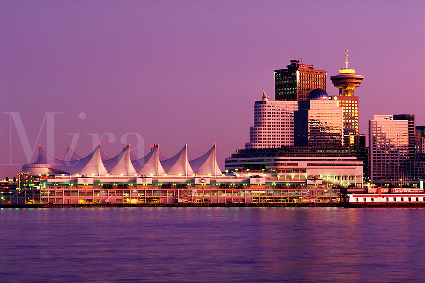 Downtown Vancouver and cruise ship pier, British Columbia, Canada