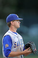 Danny Stienstra #2 of the San Jose State Spartans plays first base against the UCLA Bruins at Jackie Robinson Stadium in Los Angeles,California on February 27, 2011. Photo by Larry Goren/Four Seam Images