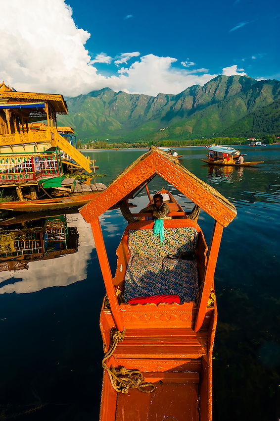 Shikaras (boats) on Dal Lake, Srinagar, Kashmir, Jammu and Kashmir State; India.