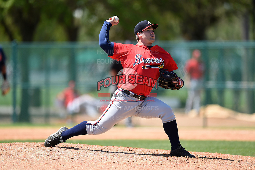 Atlanta Braves pitcher Tyler Vail (25) during a minor league spring training game against the Washington Nationals on March 26, 2014 at Wide World of Sports in Orlando, Florida.  (Mike Janes/Four Seam Images)