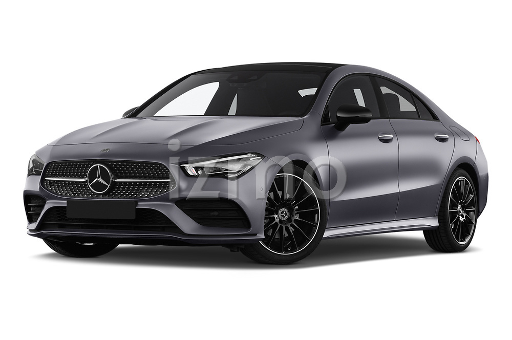Stock pictures of low aggressive front three quarter view of a 2020 Mercedes Benz CLA AMG-Line 4 Door Sedan