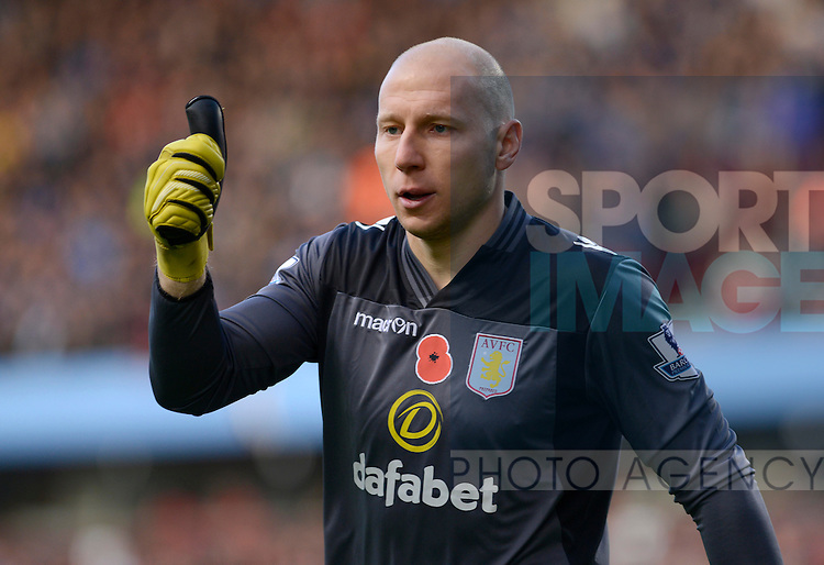 Brad Guzan of Aston Villa - Football - Barclays Premier League - Aston Villa vs Cardiff City - Villa Park Birmingham - Season 2013-14 - 9th November 2013 - Credit Malcolm Couzens/Sportimage