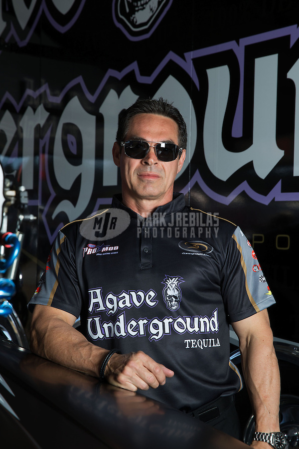 Mar. 16, 2013; Gainesville, FL, USA; NHRA pro mod driver Danny Rowe poses for a portrait during qualifying for the Gatornationals at Auto-Plus Raceway at Gainesville. Mandatory Credit: Mark J. Rebilas-