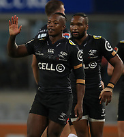 DURBAN, SOUTH AFRICA - MAY 05: S'busiso Nkosi of the Cell C Sharks during the Super Rugby match between Cell C Sharks and Highlanders at Jonsson Kings Park Stadium in Durban, South Africa on Saturday, 5 May 2018. Photo: Steve Haag / stevehaagsports.com