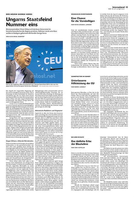 Die Wochenzeitung WOZ (Swiss weekly) on George Soros and the CEU, Budapest, Hungary, 04.2017.<br />