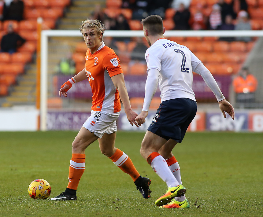 Blackpool's Brad Potts tries to find a way round Luton Town's Stephen O'Donnell<br /> <br /> Photographer David Shipman/CameraSport<br /> <br /> The EFL Sky Bet League Two - Blackpool v Luton Town - Saturday 17th December 2016 - Bloomfield Road - Blackpool<br /> <br /> World Copyright &copy; 2016 CameraSport. All rights reserved. 43 Linden Ave. Countesthorpe. Leicester. England. LE8 5PG - Tel: +44 (0) 116 277 4147 - admin@camerasport.com - www.camerasport.com