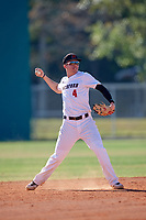 Haverford Fords shortstop Ben Furlong (4) throws to first base during a game against the Wooster Fighting Scots on March 17, 2018 at Terry Park in Fort Myers, Florida.  Haverford defeated Wooster 1-0. (Mike Janes/Four Seam Images)