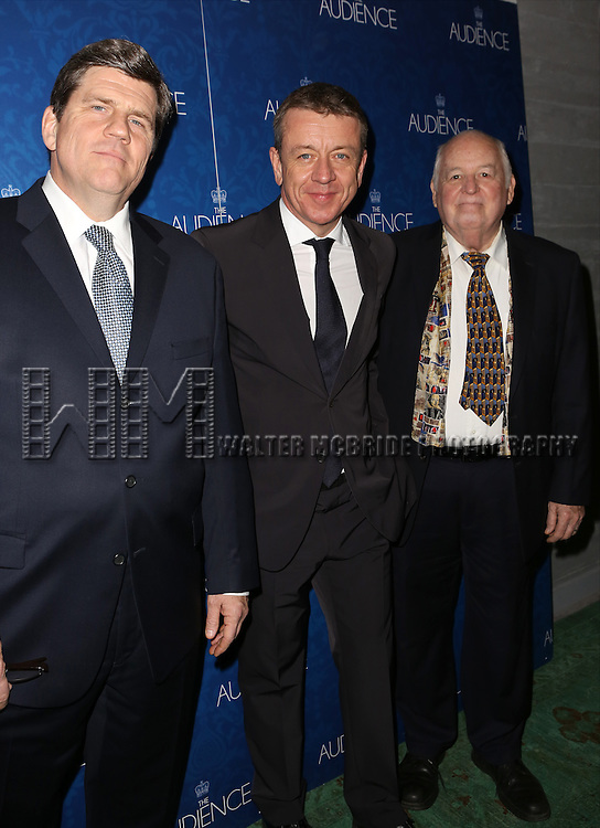 Rod McLachlan, Peter Morgan, Dakin Matthews attends the opening night after party for the Broadway Opening of 'The Audience' at Urbo NYC on March 8, 2015 in New York City.