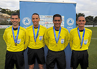 The match officials for the Oceania Football Championship final (second leg) football match between Team Wellington and Auckland City FC at David Farrington Park in Wellington, New Zealand on Sunday, 7 May 2017. Photo: Dave Lintott / lintottphoto.co.nz