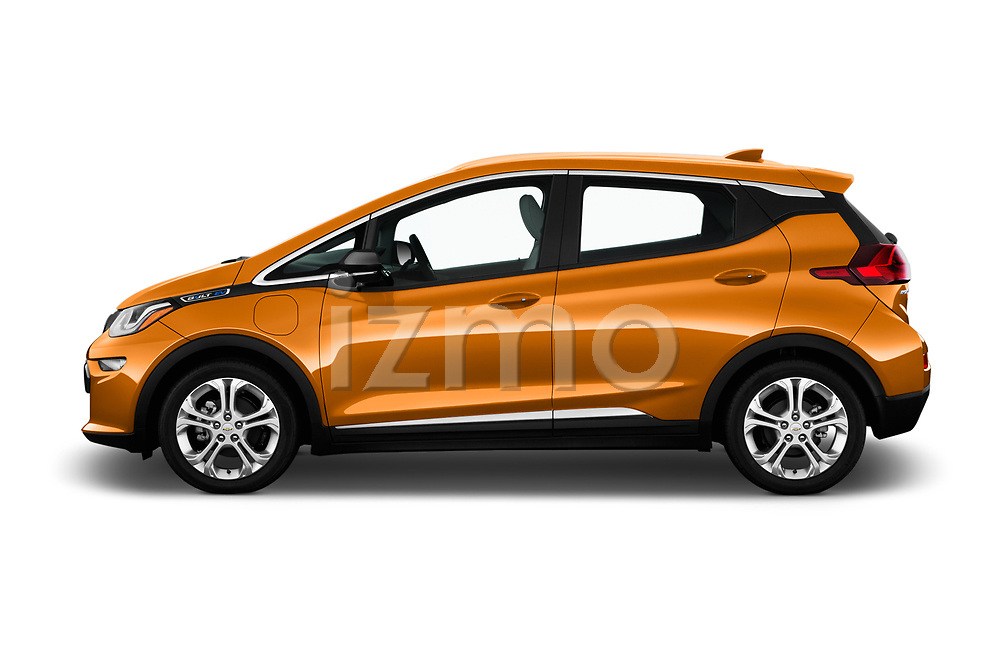 Car Driver side profile view of a 2017 Chevrolet Bolt-EV LT 5 Door Hatchback Side View