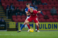 24th November 2019; McDairmid Park, Perth, Perth and Kinross, Scotland; Scottish Premiership Football, St Johnstone versus Aberdeen; Curtis Main of Aberdeen holds off the challenge for the ball from Wallace Duffy of St Johnstone  - Editorial Use