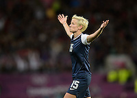 Manchester, England - Monday, August 6, 2012: The USA defeated Canada 4-3 in overtime in the semi-final round of the 2012 London Olympics at Old Trafford. Megan Rapinoe celebrates her goal.