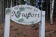 Welcome to Newport sign on Route 10  in Newport, New Hampshire USA.