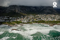 Hermanus village by stormy day, aerial view (Licence this image exclusively with Getty: http://www.gettyimages.com/detail/94433137 )