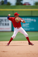Clearwater Threshers shortstop Emmanuel Marrero (33) throws to first base during the second game of a doubleheader against the Lakeland Flying Tigers on June 14, 2017 at Spectrum Field in Clearwater, Florida.  Lakeland defeated Clearwater 1-0.  (Mike Janes/Four Seam Images)