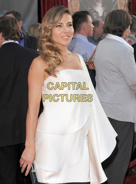 "ELSA PATAKY.The Marvel Studios Premiere of ""THOR"" held at The El Capitan Theatre in Hollywod, California, USA. .May 2nd, 2011.half length black white one shoulder sleeve dress.CAP/RKE/DVS.©DVS/RockinExposures/Capital Pictures."