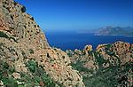 les calanques de Piana vers Porto jusqu'à Bonifacio. Corse (côte ouest). France..