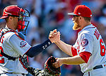 14 April 2018: Washington Nationals catcher Matt Wieters congratulates pitcher Sean Doolittle after a game against the Colorado Rockies at Nationals Park in Washington, DC. The Nationals rallied to defeat the Rockies 6-2 in the 3rd game of their 4-game series. Mandatory Credit: Ed Wolfstein Photo *** RAW (NEF) Image File Available ***
