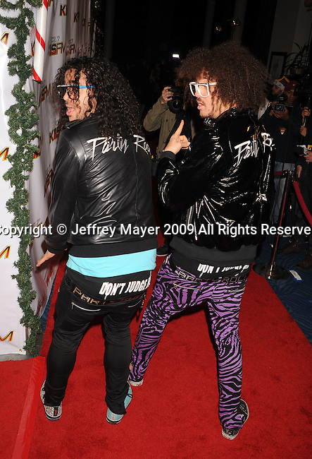 LOS ANGELES, CA. - December 05: LMFAO arrives at the KIIS FM's Jingle Ball 2009 at the Nokia Theatre L.A. Live on December 5, 2009 in Los Angeles, California.