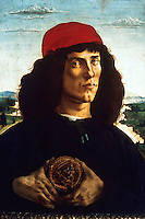 Renaissance Art:  Botticelli--The Man with the Medal--Portrait of a Man.  Galleria Uffizi.