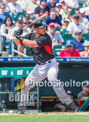 10 March 2015: Miami Marlins catcher Jeff Mathis in Spring Training action against the Washington Nationals at Roger Dean Stadium in Jupiter, Florida. The Marlins edged out the Nationals 2-1 on a walk-off solo home run in the 9th inning of Grapefruit League play. Mandatory Credit: Ed Wolfstein Photo *** RAW (NEF) Image File Available ***