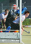 Scottish Hockey League - Western Wildcats V Grange HC at Auchenhowie, Milngavie - concerned faces in the Western defence as they  set about defending a penalty corner - the match ended 3-3, with Grange coming back from 3-0 down - picture by Donald MacLeod 25.09.10 - mobile 07702 319 738 - clanmacleod@btinternet.com - www.donald-macleod.com