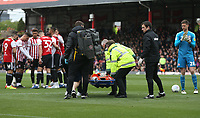Concerns for Brentford's Julian Jeanvier who was stretchered off<br /> <br /> Photographer Rob Newell/CameraSport<br /> <br /> The EFL Sky Bet Championship - Brentford v Preston North End - Sunday 5th May 2019 - Griffin Park - Brentford<br /> <br /> World Copyright © 2019 CameraSport. All rights reserved. 43 Linden Ave. Countesthorpe. Leicester. England. LE8 5PG - Tel: +44 (0) 116 277 4147 - admin@camerasport.com - www.camerasport.com