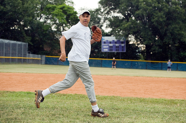 UNITED STATES - JUNE 16:  Rep. Lacy Clay, D-Mo., takes the field during the democratic team baseball practice at Brentwood Park in Northeast.  (Photo By Tom Williams/Roll Call)