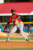 Greeneville Astros relief pitcher Angel Heredia (41) in action against the Burlington Royals at Burlington Athletic Park on June 29, 2014 in Burlington, North Carolina.  The Royals defeated the Astros 11-0. (Brian Westerholt/Four Seam Images)