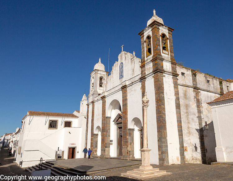Historic church inside the walled hilltop village of Monsaraz, Alto Alentejo, Portugal, southern Europe