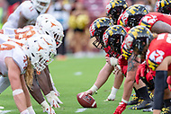 Landover, MD - September 1, 2018: Maryland Terrapins and the Texas Longhorns lineup during game between Maryland and No. 23 ranked Texas at FedEx Field in Landover, MD. The Terrapins upset the Longhorns in back to back season openers with a 34-29 win. (Photo by Phillip Peters/Media Images International)
