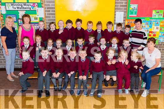 Junior Infants from St. Brigid's National School, Duagh, pictured last Friday with left was Mrs Carmel Fitzgerald (Principal) and Mary Nolan(Jnr Infants Teacher) and SNA staff Mary Ahern and Mary Walsh.