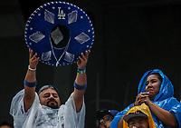 Aficionado con sombrero de mariachi. Baseball action during the Los Angeles Dodgers game against San Diego Padres, the second game of the Major League Baseball Series in Mexico, held at the Sultans Stadium in Monterrey, Mexico on Saturday, May 5, 2018 .<br /> (Photo: Luis Gutierrez)<br /> <br /> Acciones del partido de beisbol, durante el encuentro Dodgers de Los Angeles contra Padres de San Diego, segundo juego de la Serie en Mexico de las Ligas Mayores del Beisbol, realizado en el estadio de los Sultanes de Monterrey, Mexico el sabado 5 de Mayo 2018.<br /> (Photo: Luis Gutierrez)