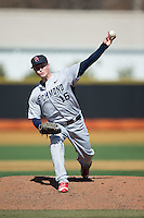 Richmond Spiders starting pitcher Zach Grossfeld (16) in action against the Wake Forest Demon Deacons at David F. Couch Ballpark on March 6, 2016 in Winston-Salem, North Carolina.  The Demon Deacons defeated the Spiders 17-4.  (Brian Westerholt/Four Seam Images)