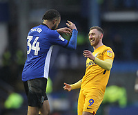 Preston North End's Louis Moult with Sheffield Wednesday's Michael Hector<br /> <br /> Photographer Mick Walker/CameraSport<br /> <br /> The EFL Sky Bet Championship - Sheffield Wednesday v Preston North End - Saturday 22nd December 2018 - Hillsborough - Sheffield<br /> <br /> World Copyright &copy; 2018 CameraSport. All rights reserved. 43 Linden Ave. Countesthorpe. Leicester. England. LE8 5PG - Tel: +44 (0) 116 277 4147 - admin@camerasport.com - www.camerasport.com