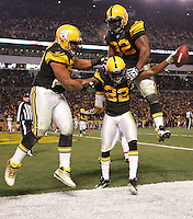 PITTSBURGH, PA - DECEMBER 08:  William Gay #22 of the Pittsburgh Steelers celebrates with teammates James Harrison #92 and Cameron Heyward #97 following his interception in the endzone in the second half against the Cleveland Browns during the game on December 8, 2011 at Heinz Field in Pittsburgh, Pennsylvania.  (Photo by Jared Wickerham/Getty Images)