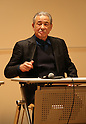 """March 15, 2016, Tokyo, Japan - Japanese fashion designer Issey Miyake speaks before press prior to his exhibition """"The Work of Miyake Issey"""" at the National Art Center in Tokyo on Tuesday, March 15, 2016. Over 100 creations of Issey Miyake are exhibited at the museum from March 16 through June 13.  (Photo by Yoshio Tsunoda/AFLO) LWX -ytd-"""